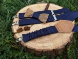 Men's set - wooden bow tie, cufflinks and braces