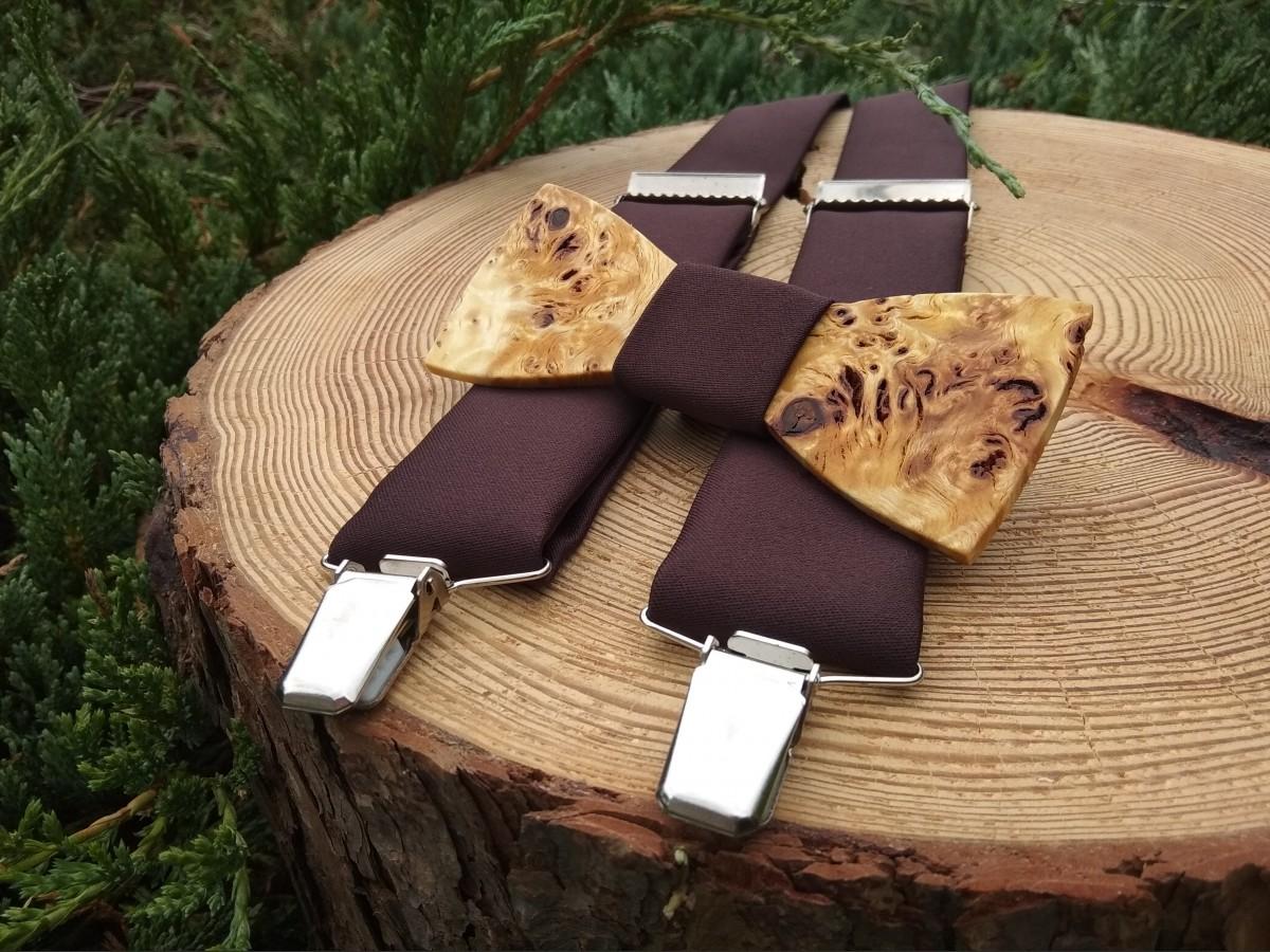 5b0403621 Pánsky set - drevený motýlik a traky
