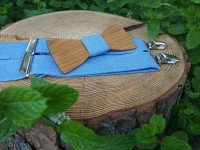 Men's wooden bow tie and braces