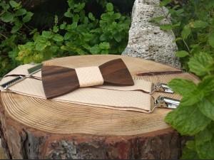 Men's set - wooden bowtie and braces