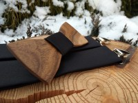 Men's set - wooden bow tie and braces