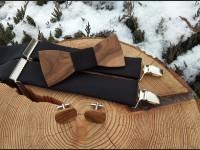 Men's set - wooden bow tie, woodenbowtie cufflinks and braces