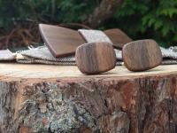 Men's set - wooden bow tie, cufflinks and braces
