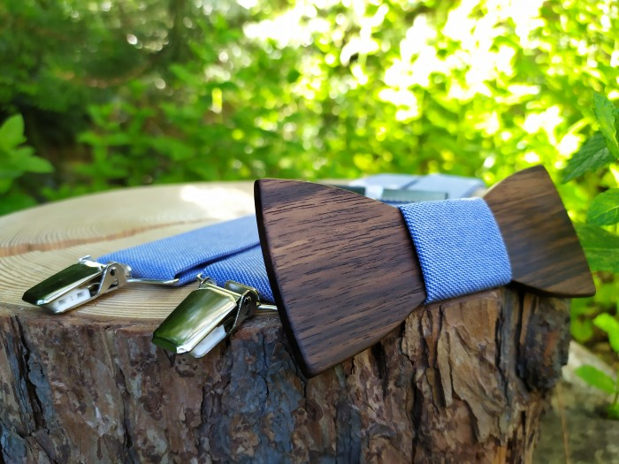 Men's wooden bow tie and braces
