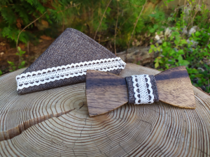 Men's set - wooden bow tie and tissues