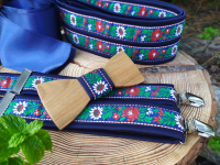 Folklore set - wooden bowtie, braces and women's belt