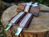 Men's wooden bowtie and braces